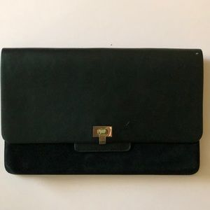 The Limited black  suede and leather clutch